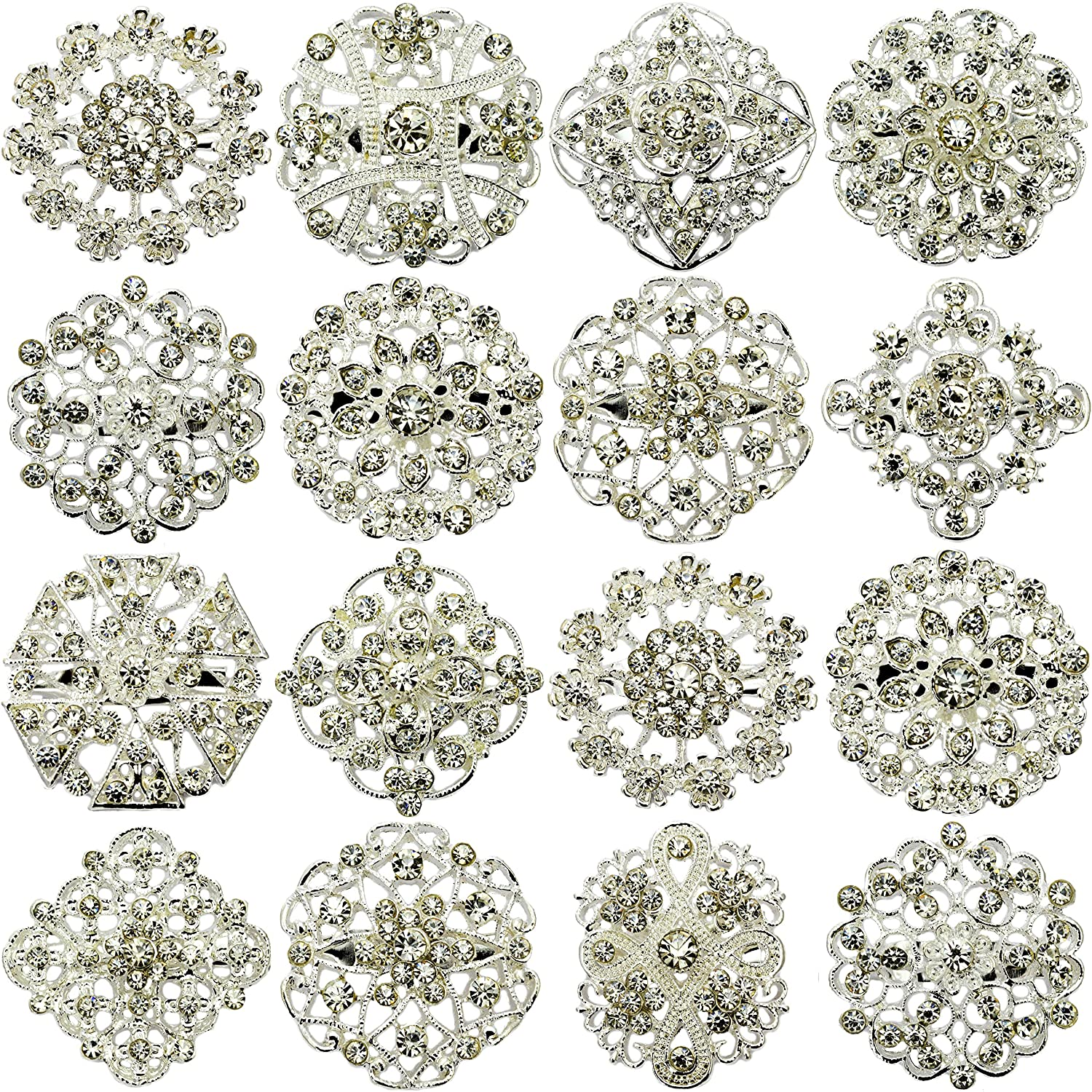 Stunning silver Large 38mm Crystal diamante button new