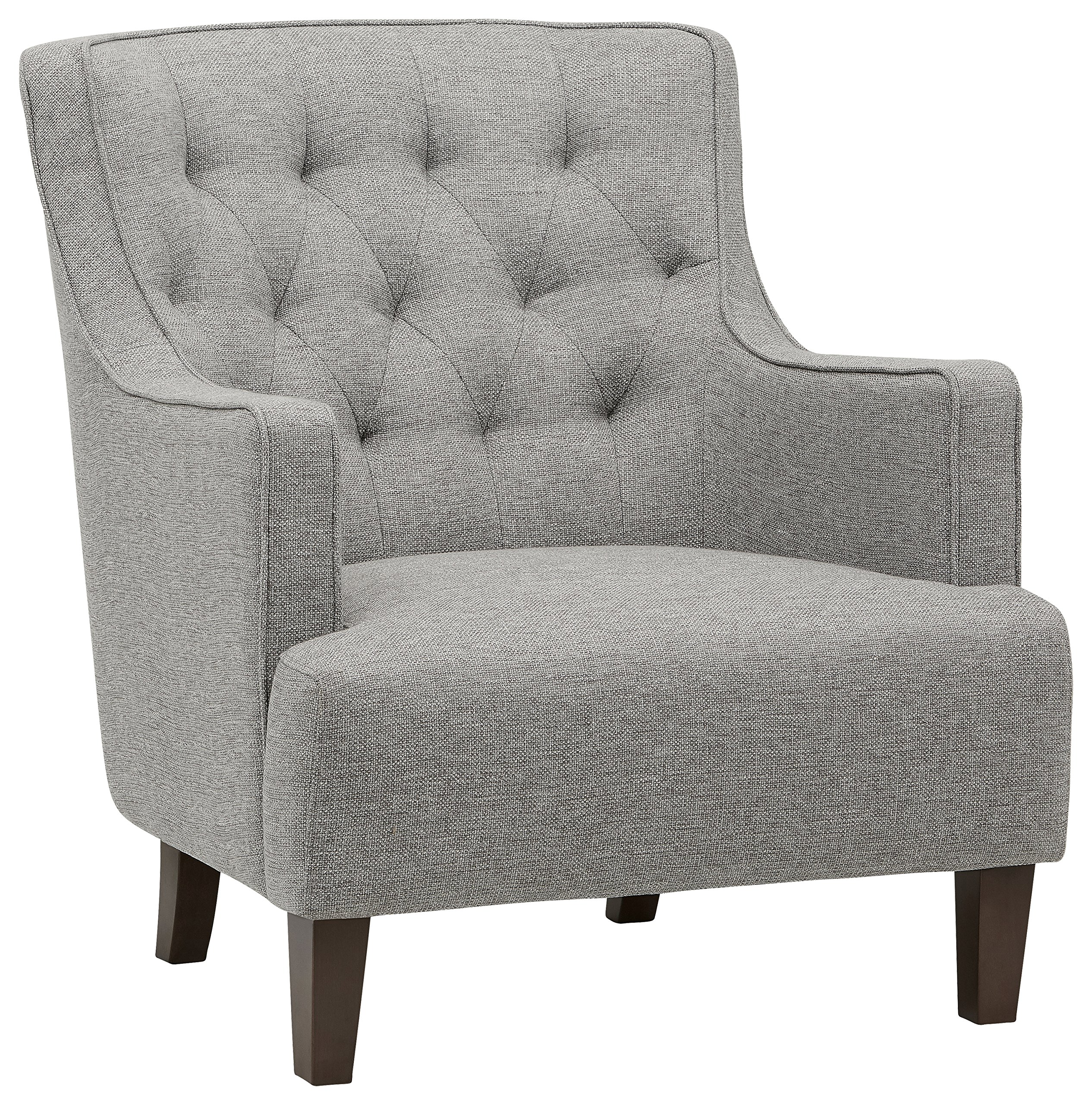 "Amazon Brand – Stone & Beam Decatur Modern Tufted Wingback Living Room Accent Chair, 32.3""W, Silver - This modern accent chair is ready to withstand your busy family life. Tufted fabric and curved sides bring style and durability that will hold up against the kids, pets and lots of entertaining in your living room. 32.3""W x 35.8""D x 36.2""H Solid beach wood covered in polyester fabric - living-room-furniture, living-room, accent-chairs - B1MD60owSSS -"