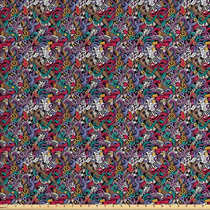 Amazon Com Ambesonne Doodle Fabric By The Yard Music Themed Hand