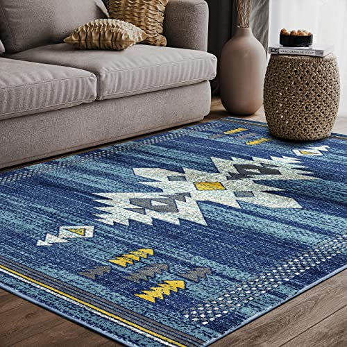 Abani Porto PRT110B Southwestern Tribal Print Blue and Yellow Area Rug 5'3″x7'6″