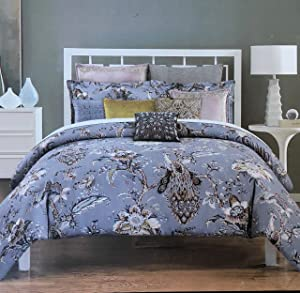 Tahari Home Peacock Bird Botanical Jacobean Floral Duvet Set (King) in shades of gold, brown, terra-cotta, and steel blue on lavender gray background