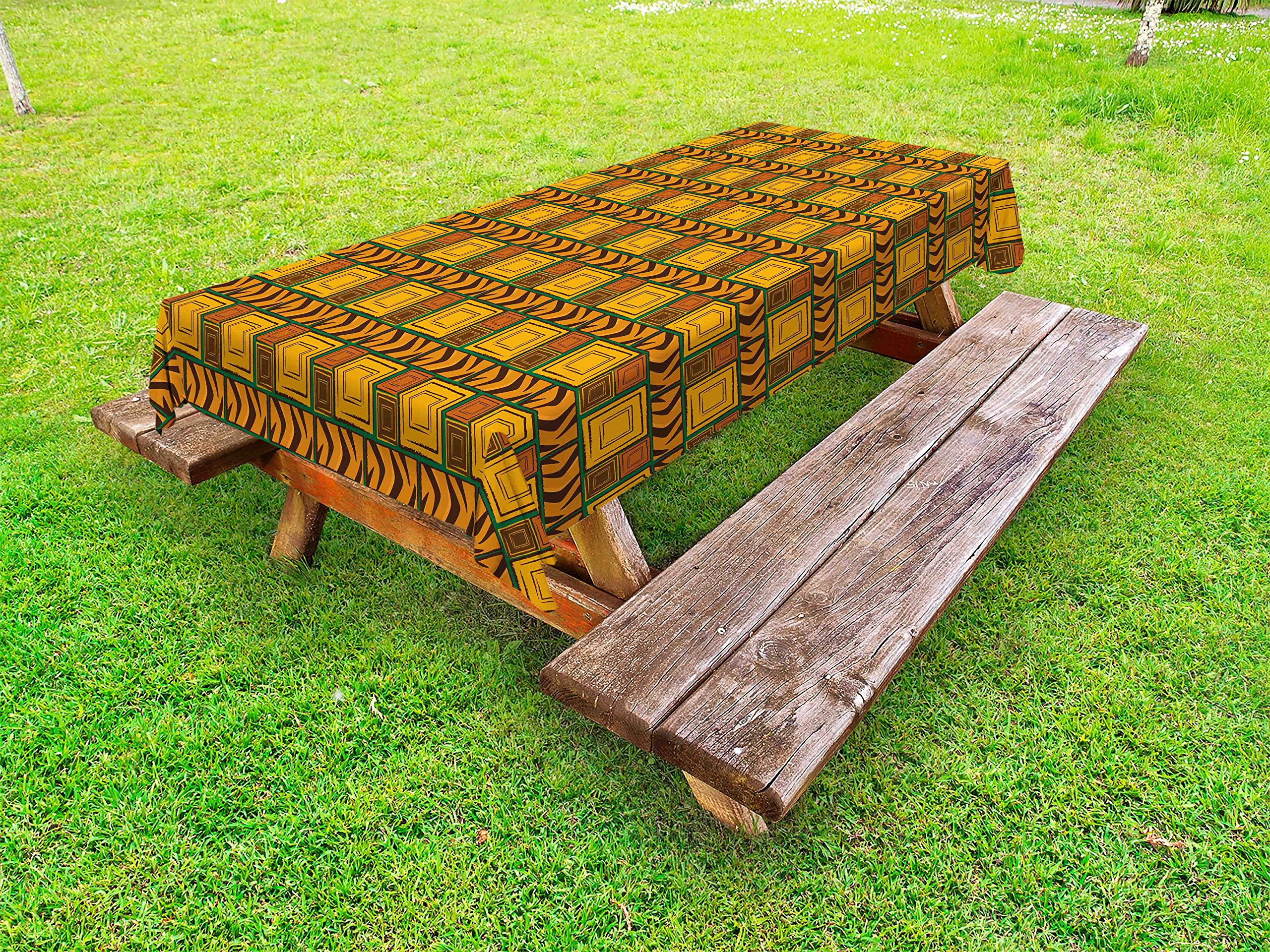 Ambesonne Zambia Outdoor Tablecloth, Kenya Ethnic Motif with Geometrical Aztec Native American Effects Print, Decorative Washable Picnic Table Cloth, 58 X 104 inches, Yellow Brown Green
