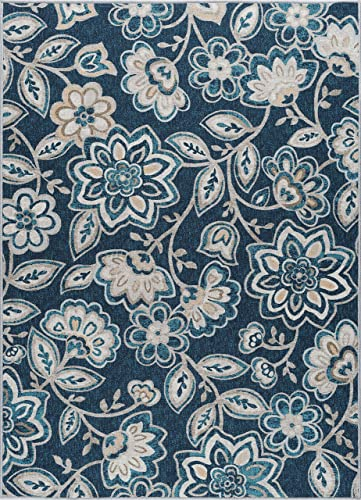 Tammy Transitional Floral Navy Non-Skid Rectangle Area Rug, 5 x 7