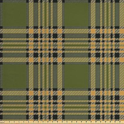 Amazon Com Lunarable Plaid Fabric By The Yard Tartan Pattern In