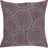 Rivet Modern Abstract Circle Throw Pillow Cover - 20 x 20 Inch, Purple