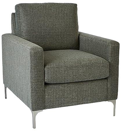 Bassett Park View Kellan Modern Performance Fabric Chair, 32 W, Steel Gray