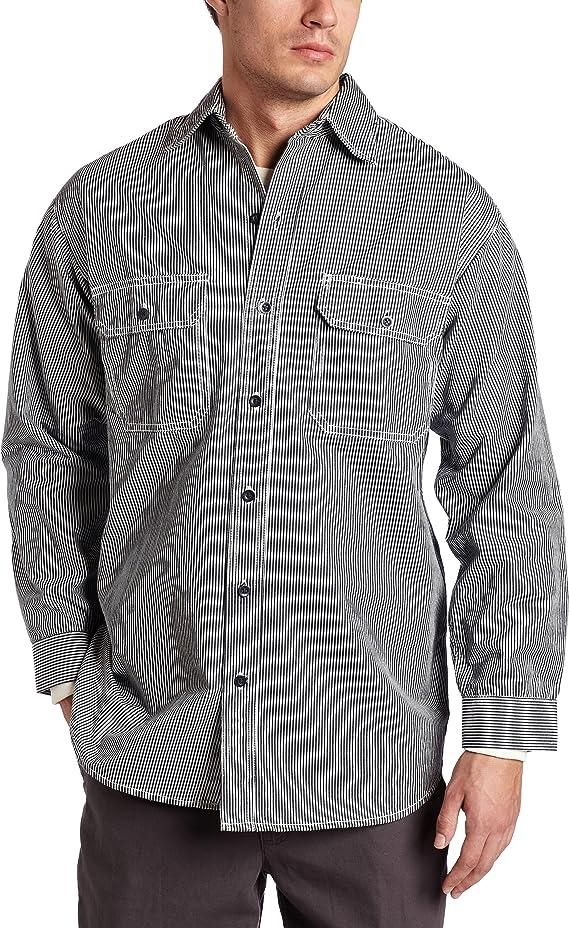 Men's Vintage Workwear – 1920s, 1930s, 1940s, 1950s Key Industries Mens Long Sleeve Button Front Hickory Stripe Logger Shirt $32.45 AT vintagedancer.com
