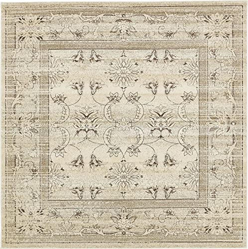 Unique Loom La Jolla Collection Tone-on-Tone Traditional Ivory Square Rug 8 0 x 8 0