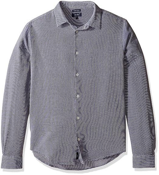 53fb20509b Amazon.com: Armani Jeans Men's Textured Long Sleeve Button Down Shirt, Blue,  Large: Clothing
