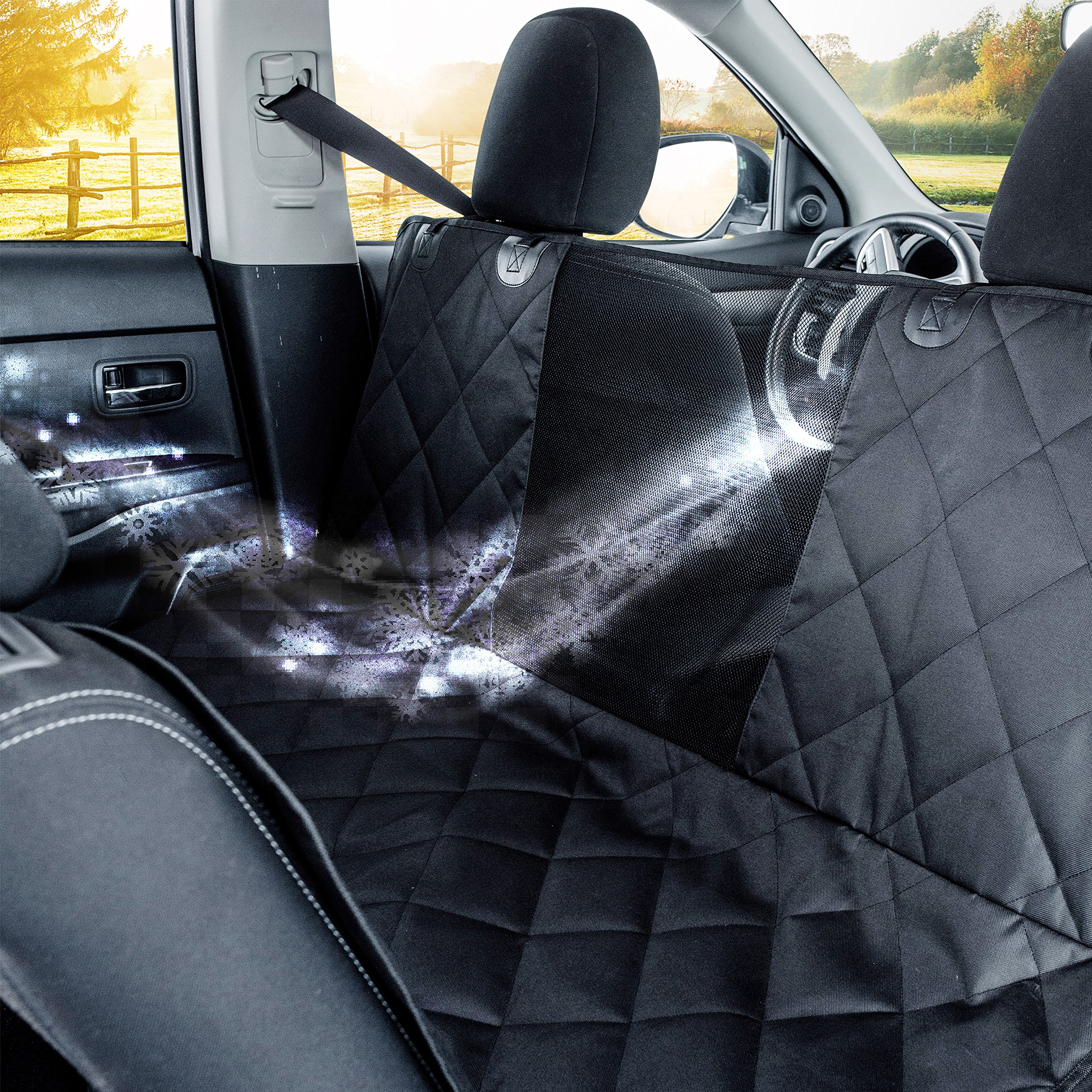 PREMIUM Dog Car Seat Cover Hammock Style And Cargo Liner For Cars, Trucks And Suv's. The Original Design You Can See Your Pet & Your Pet Sees You with the ClearView Window- Keeps Your Pet Calm.