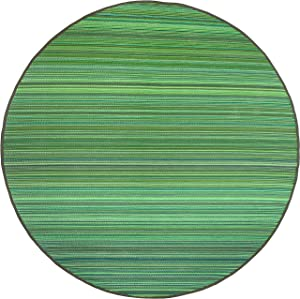 Fab Habitat Reversible Rugs   Indoor or Outdoor Use   Stain Resistant, Easy to Clean Weather Resistant Floor Mats   Cancun - Green, 8' Round