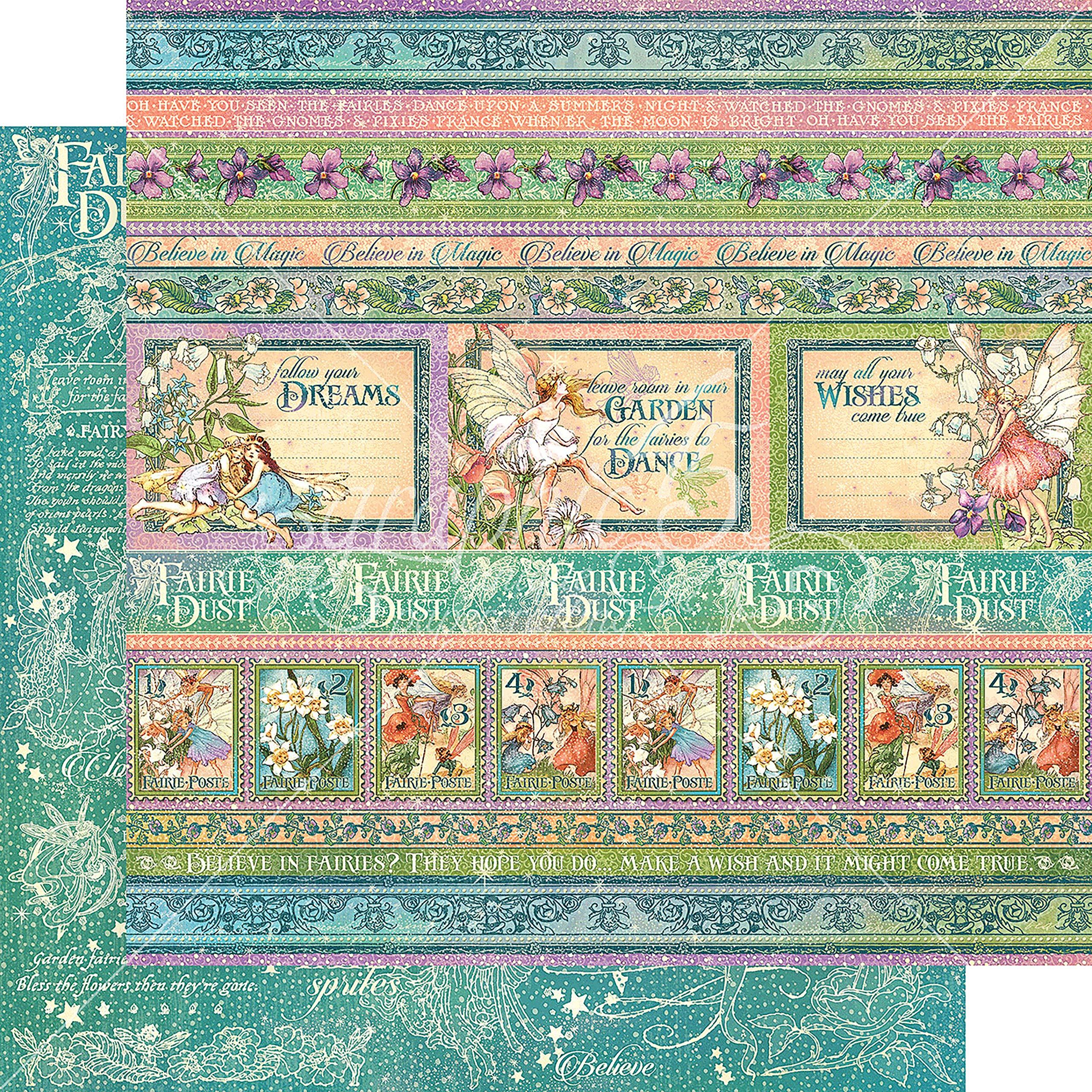 Graphic 45 Magic Wishes Fairie Dust Double-Sided Cardstock 12''X12''