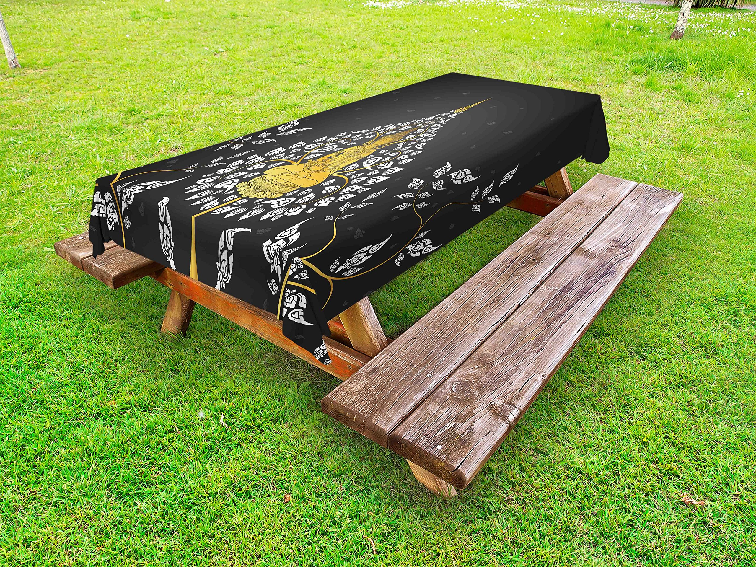 Lunarable Asian Outdoor Tablecloth, Ancient Religious Thai Character with Floral Elements Meditation, Decorative Washable Picnic Table Cloth, 58 X 84 Inches, Charcoal Grey White Yellow by Lunarable