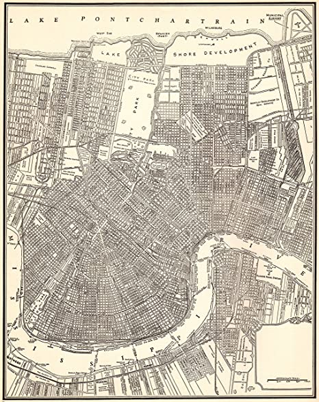 Amazon.com: 1937 Antique New Orleans Map Original Vintage Map of New ...