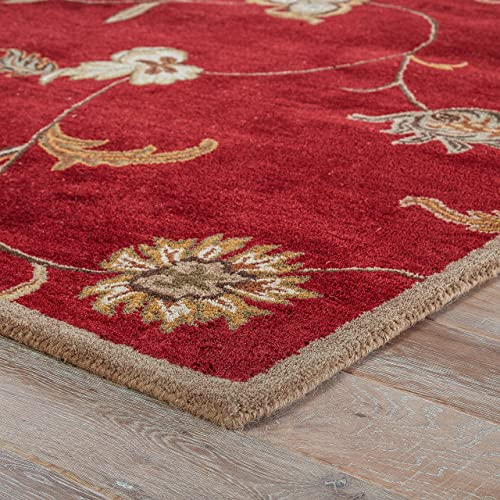 Jaipur Living Alsace Hand-Tufted Floral Leaves Red Area Rug 2 X 3