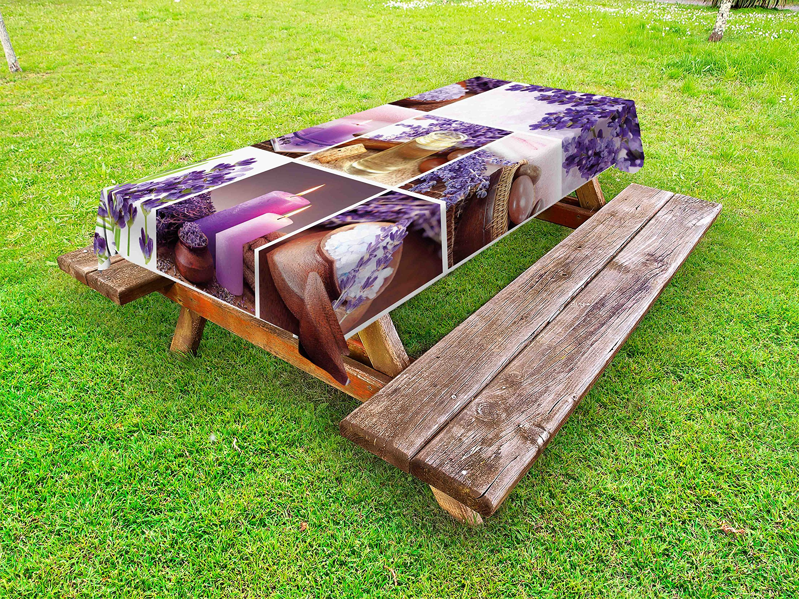 Lunarable Spa Outdoor Tablecloth, Lavender Garden Alike Themed Relaxing Candles Stones Herbal Salt Elements Image, Decorative Washable Picnic Table Cloth, 58 X 120 inches, Purple and White
