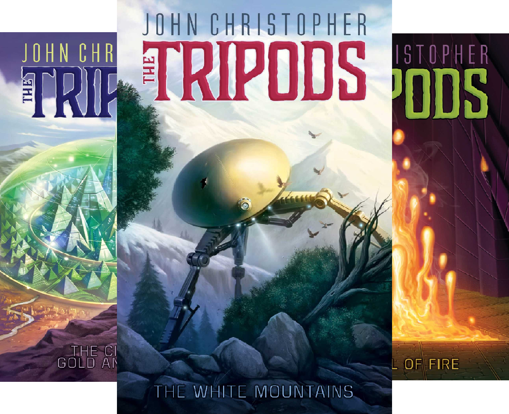 The Tripods Set of 4: When the Tripods Came/ the White Mountains/ the City of Gold and Lead/ the Pool of Fire