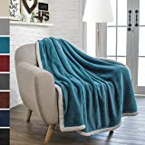 Premium Sherpa Throw Blanket by Pavilia | Super Soft, Cozy, Lightweight Microfiber, Reversible, All Season for Couch or Bed (Sea Blue, 50 x 60 Inches)