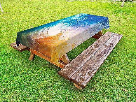 Amazoncom Lunarable Wave Outdoor Tablecloth Huge Vibrant Ocean - Huge picnic table