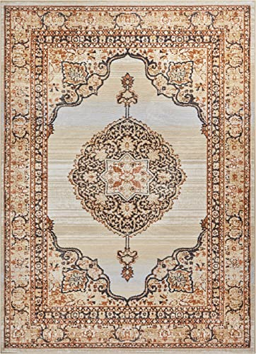 Well Woven Mughal Red Medallion Modern 8×11 7 10 x 10 6 Area Rug Beige Ivory Blue Vintage Floral Oriental Carpet