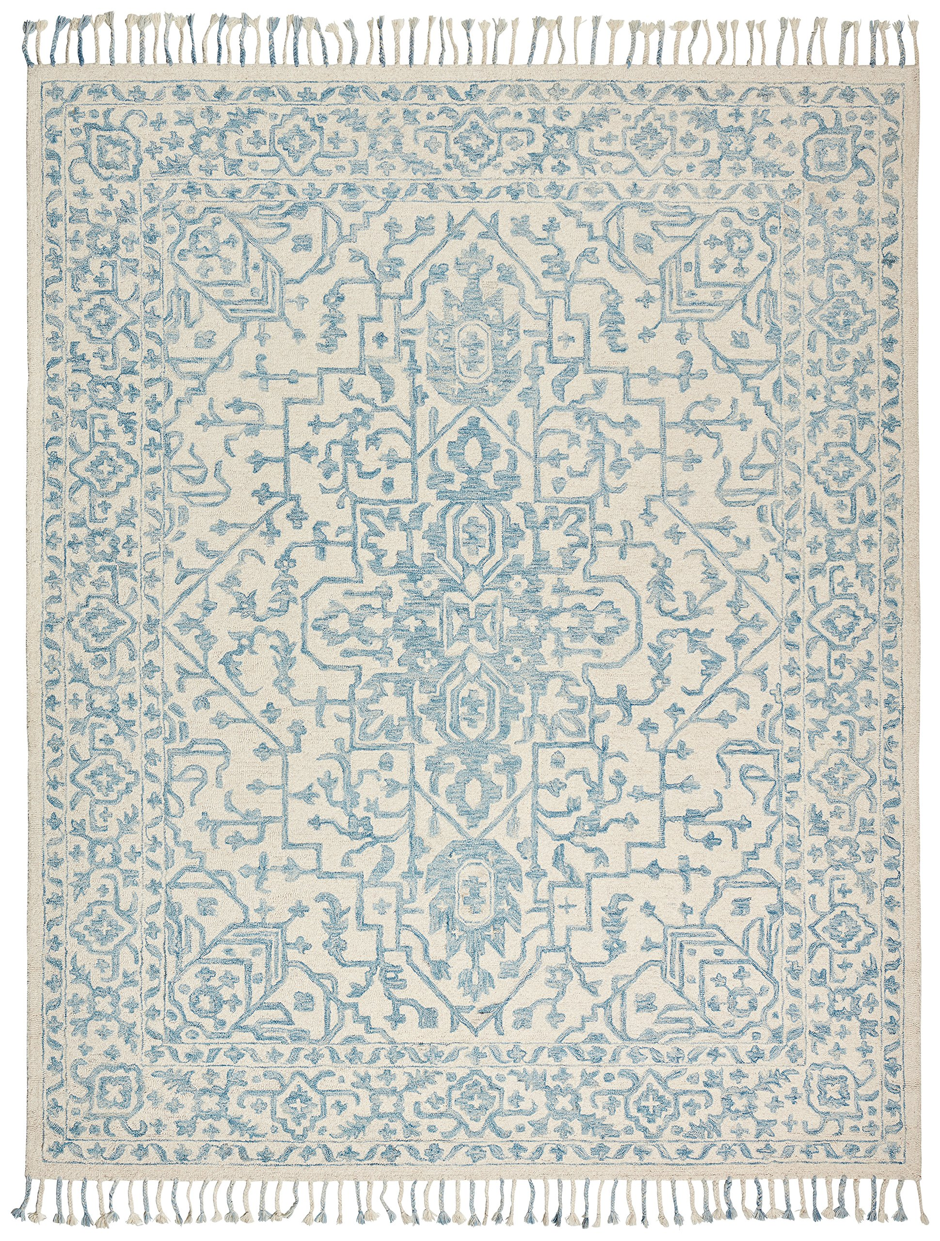 Stone & Beam New England Transitional Wool Area Rug, 8'x10', Blue and Cream
