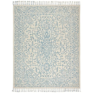 Stone & Beam New England Tassled Wool Farmhouse Area Rug, 5 x 8 Foot, Blue and Cream