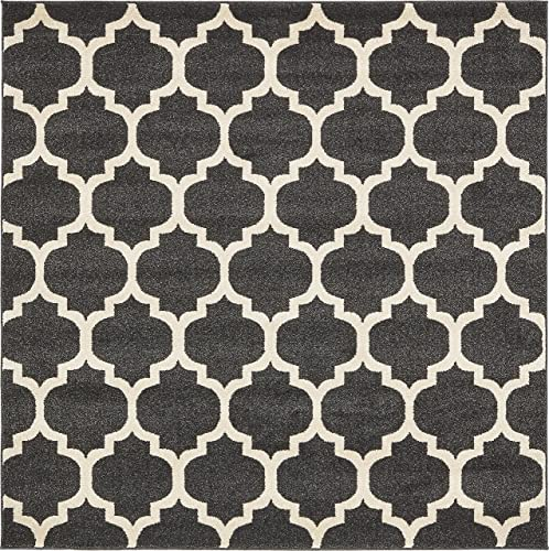 Unique Loom Trellis Collection Moroccan Lattice Black Square Rug 6 0 x 6 0