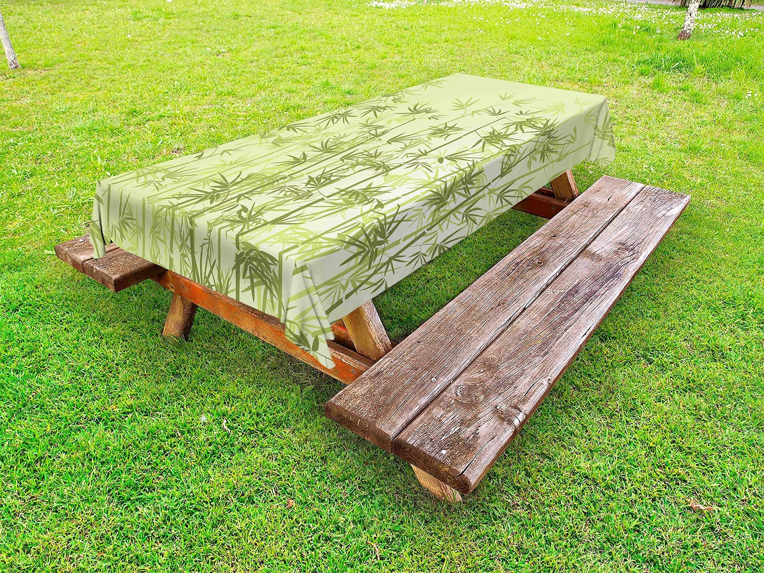 Ambesonne Forest Outdoor Tablecloth, Tropical Style Woodland Spiritual Nature Spa Chakra Zen Yoga Concept, Decorative Washable Picnic Table Cloth, 58 X 84 inches, Pale Green Dark Green