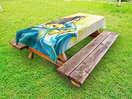Wondrous Amazon Com Ambesonne Mermaid Outdoor Tablecloth Magical Gmtry Best Dining Table And Chair Ideas Images Gmtryco