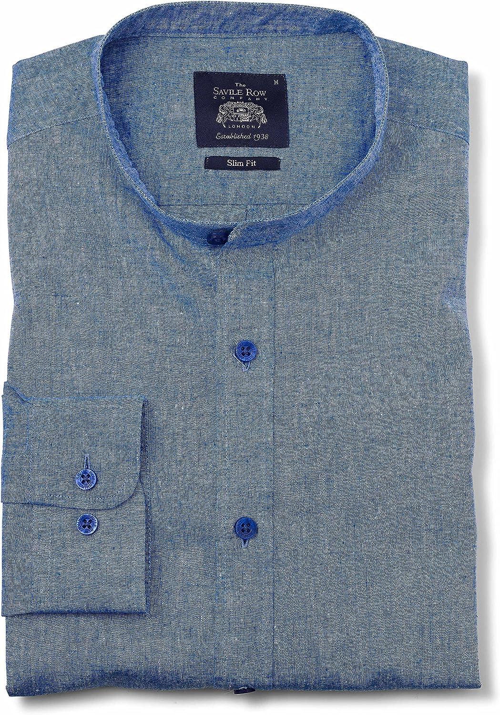 Savile Row Mens Mid Blue Linen-Blend Slim Fit Grandad Collar Casual Shirt