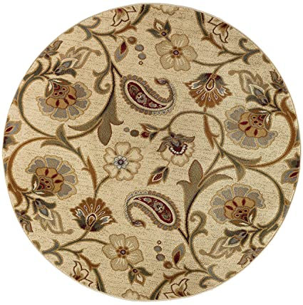 Amazon Com Universal Rugs 107772 Ivory 6 Round Area Rug 5 Feet 3