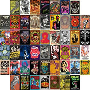VERSRH 50PCS Vintage Rock Poster Aesthetic Pictures Wall Collage Kit, Indie Small Posters, Teen Classic Album Style Room Decor, Girls Dorm Collection Photo Display, Vintage Trendy Wall Prints Kit