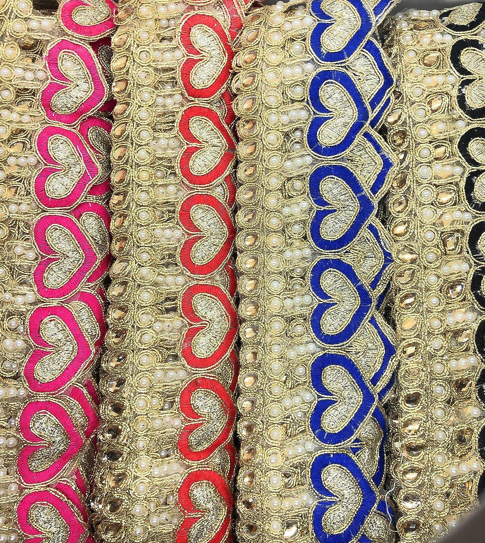 1 Meter Latest Indian Designer Mirror Stone Zari Cutwork  Lace Trim boarder
