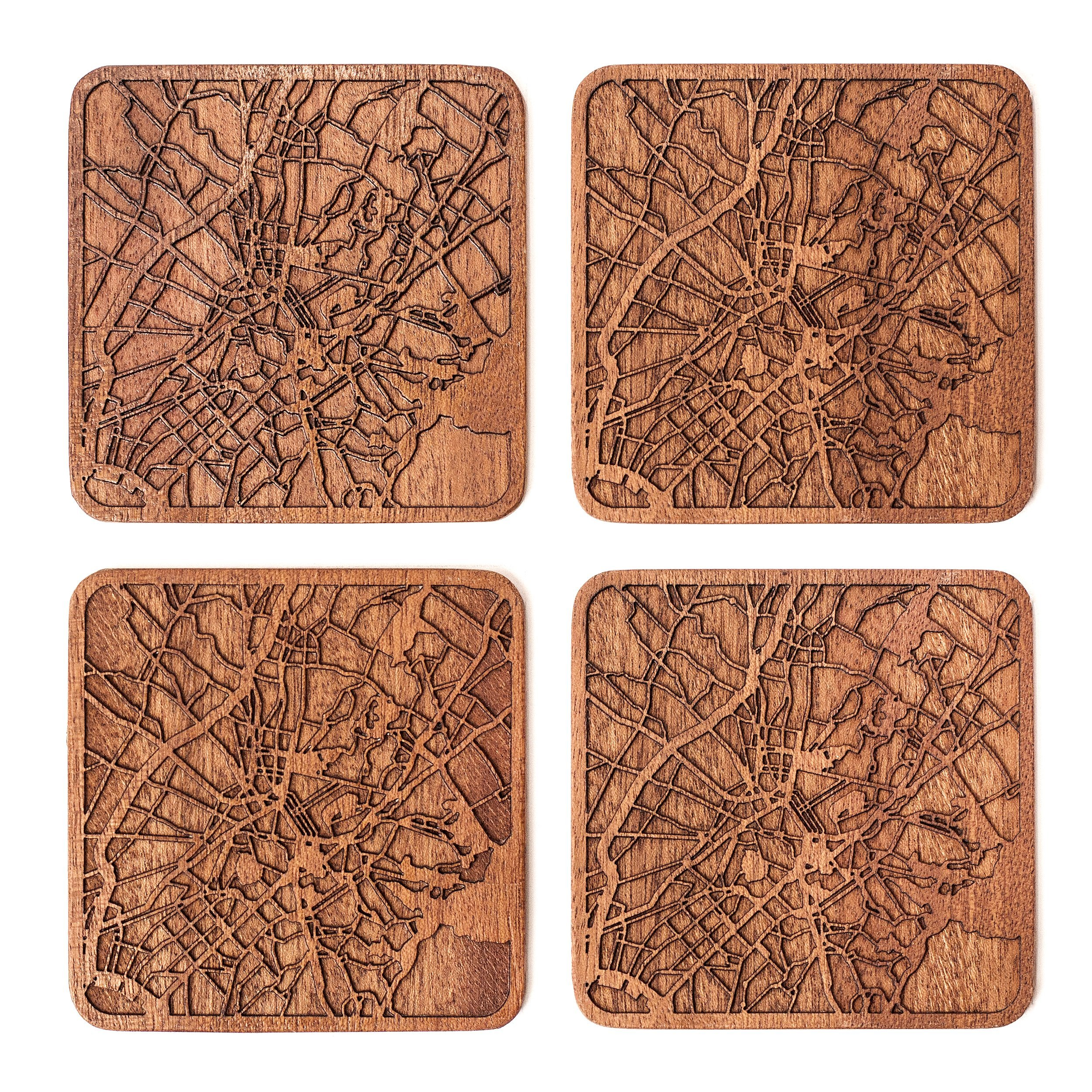 Athens Map Coaster by O3 Design Studio, Set Of