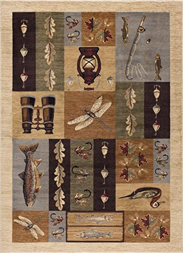 Fly Fishing Novelty Lodge Pattern Beige Rectangle Area Rug, 8 x 10