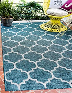 Unique Loom Outdoor Trellis Collection Casual Moroccan Lattice Transitional Indoor and Outdoor Flatweave Teal Area Rug (4' 0 x 6' 0)