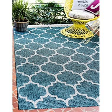 Unique Loom Outdoor Collection Casual Moroccan Lattice Geometric Teal Area Rug (7' x 10')