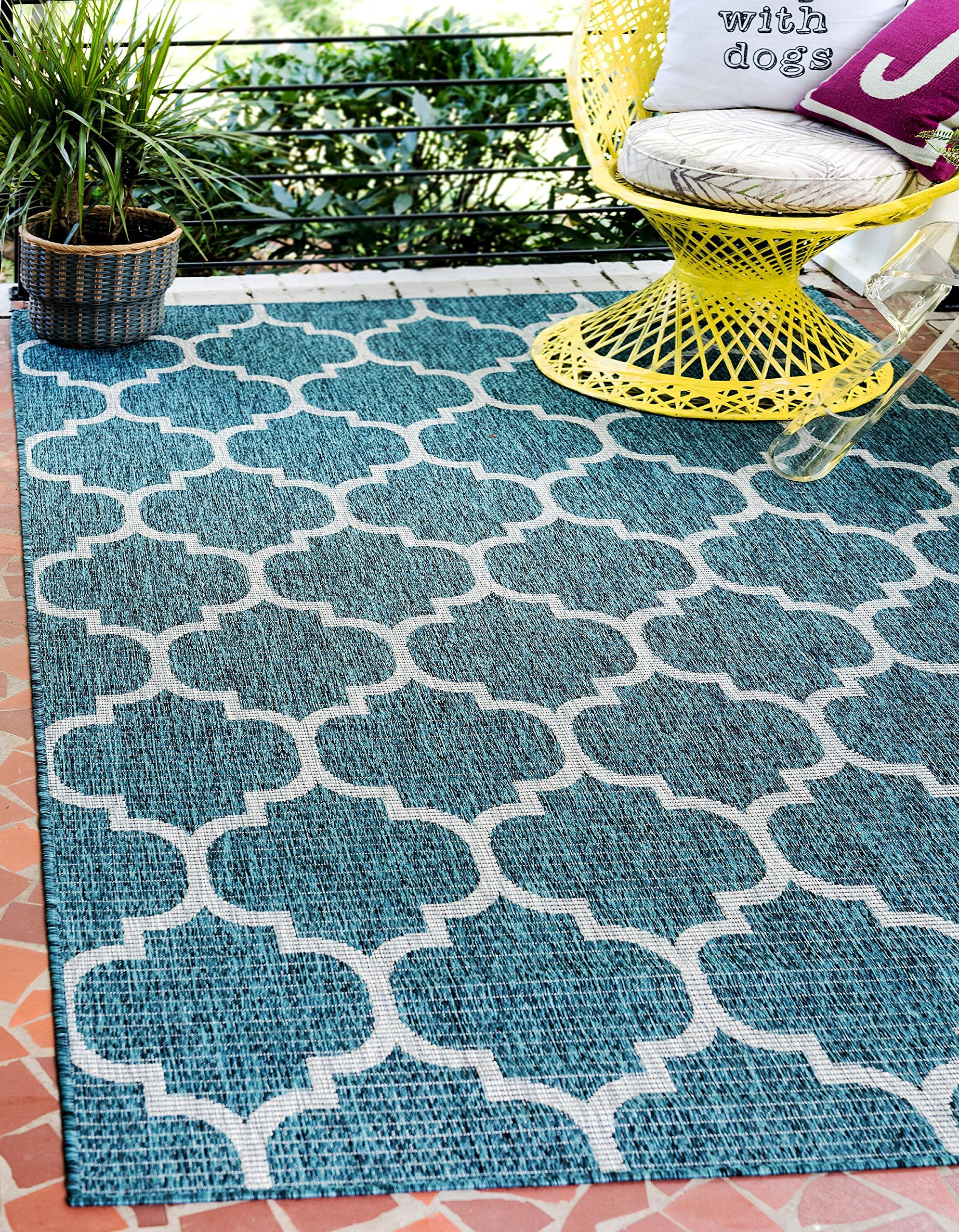 Unique Loom Outdoor Collection Casual Moroccan Lattice Geometric Teal Area  Rug (7u0027 X 10