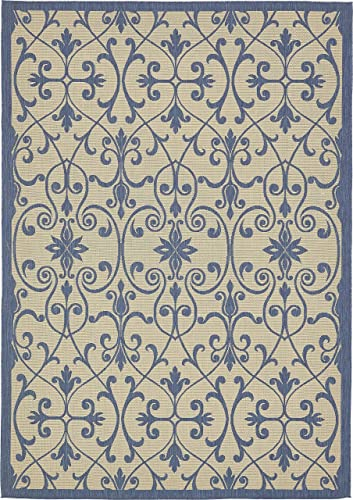 Unique Loom Outdoor Botanical Collection Traditional Border Transitional Indoor and Outdoor Flatweave Beige /Blue Area Rug 8' 0 x 11' 4