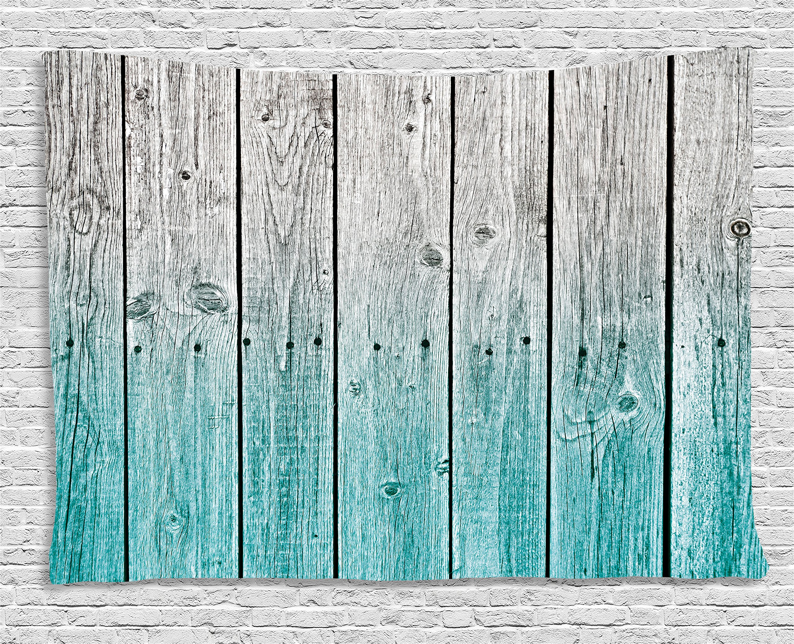 Ambesonne Rustic Tapestry Decor, Wood Panels Background with Digital Tones Effect Country House Image, Wall Hanging for Bedroom Living Room Dorm, 80 W X 60 L inches, Teal Grey