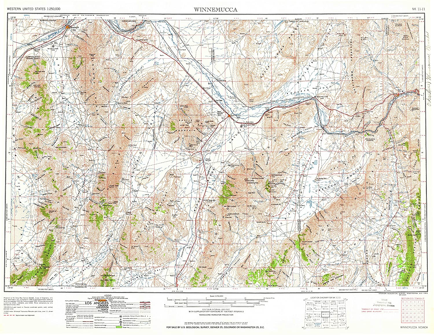 Topographic Map Of Nevada.Amazon Com Yellowmaps Winnemucca Nv Topo Map 1 250000 Scale 1 X