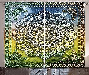 Asian Curtains Zen Yoga Hippie Decor Window Drapes 2 Panel Set 108x90 Inches
