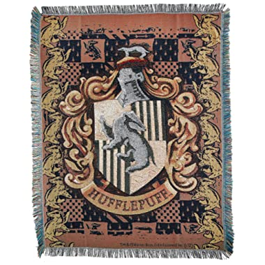 Harry Potter,  Hufflepuff Crest  Woven Tapestry Throw Blanket, 48  x 60