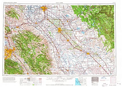 San Jose Elevation Map.Amazon Com Yellowmaps San Jose Ca Topo Map 1 250000 Scale 1 X 2