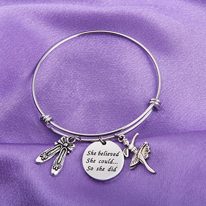 Lywjyb Birdgot Graduation Gift She Believed She Could So She Did Inspirational Charm Bangle Bracelet
