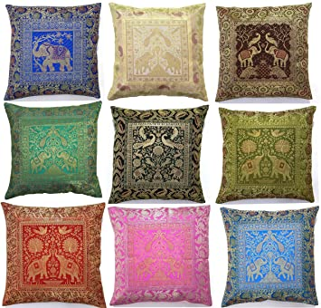 10 Pc Lot Square Silk Home Decor Cushion Cover Indian Silk Brocade Pillow Cover