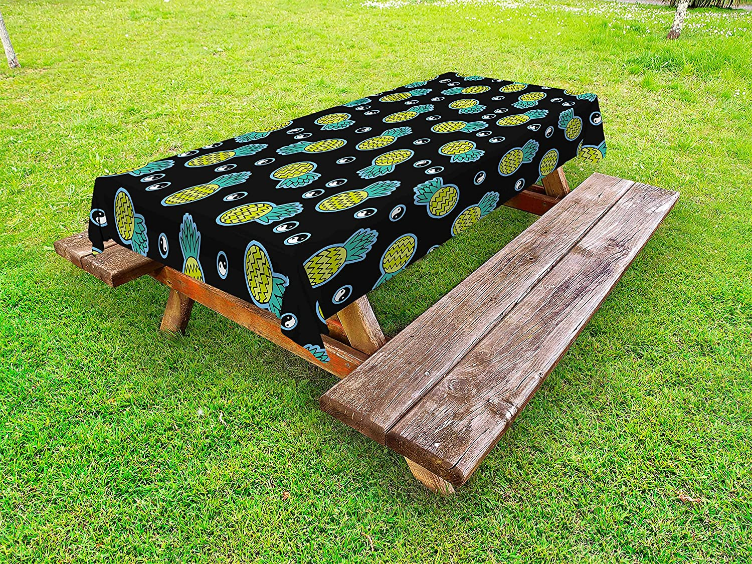 Terrific Amazon Com Lunarable Yin Yang Outdoor Tablecloth Abstract Caraccident5 Cool Chair Designs And Ideas Caraccident5Info