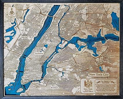 Map Of New York 3d.Amazon Com Manhattan New York 3d Wood Map Wall Art
