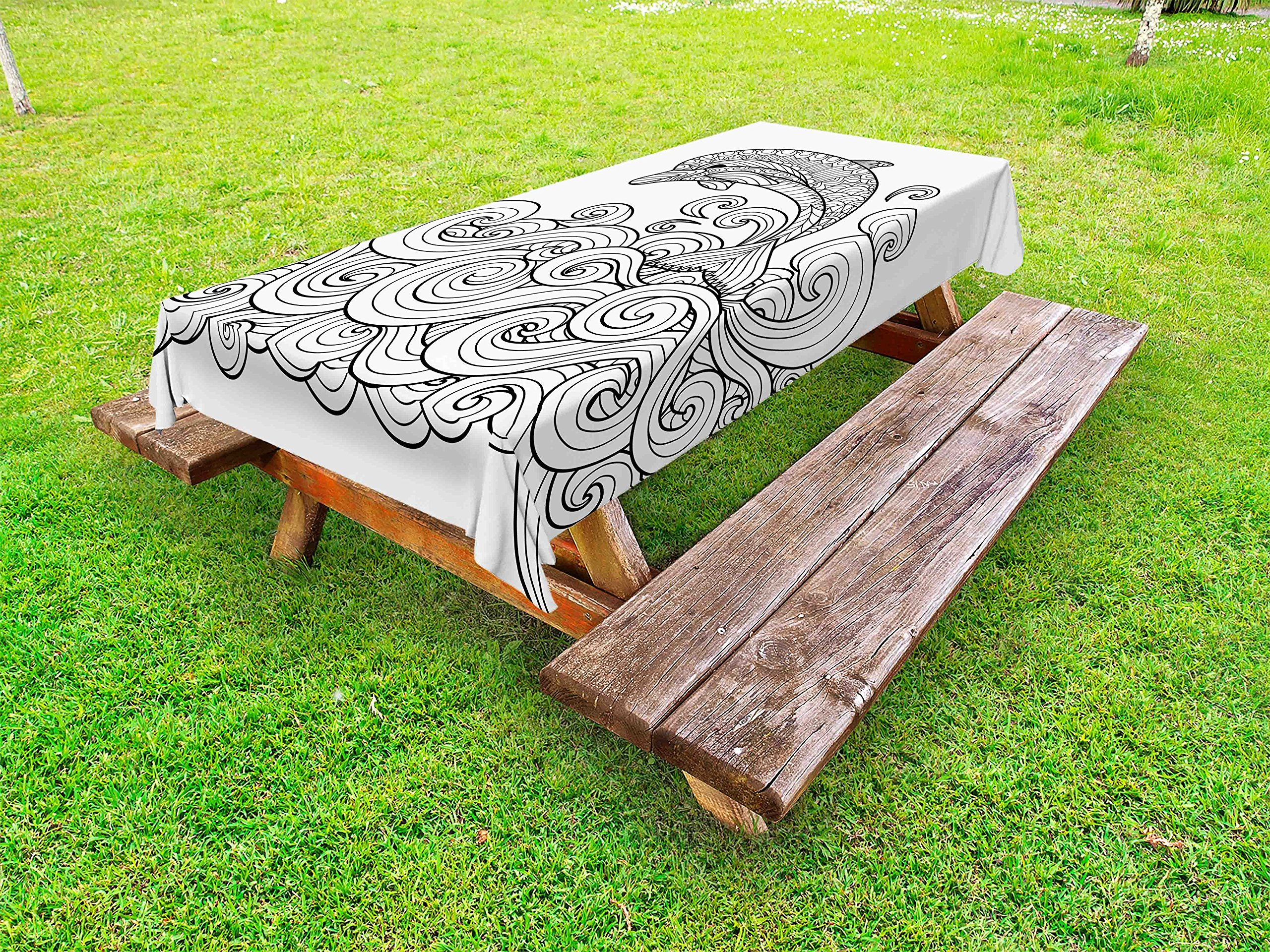 Ambesonne Dolphin Outdoor Tablecloth, Black and White Zentangle Nautical Image Waves and Animal Jumping Out of Water, Decorative Washable Picnic Table Cloth, 58 X 104 inches, Black White