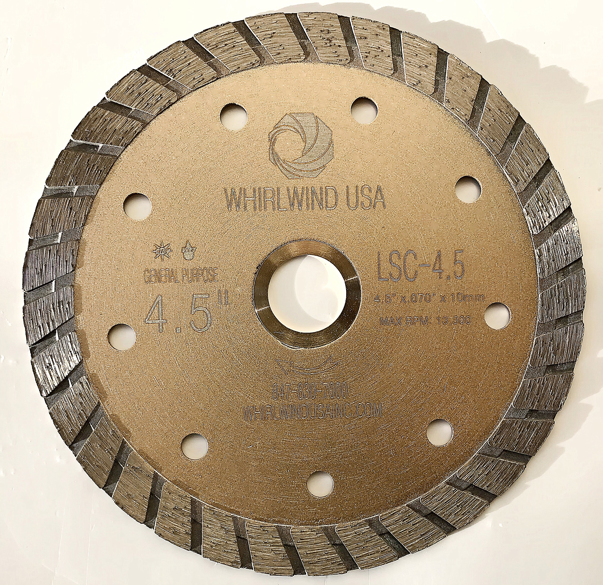 Whirlwind USA LSC 4 1/2-Inch Dry or Wet Cutting General Purpose Continuous Turbo Power Saw Diamond Blades for Concrete, Masonry, Stone (Factory Direct Sale) (4.5'')